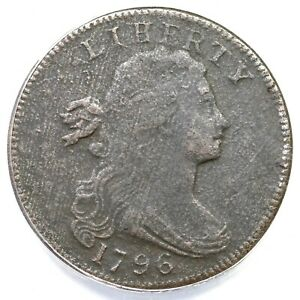 1796 S-104 ANACS VF 20 Details Draped Bust Large Cent Coin 1c