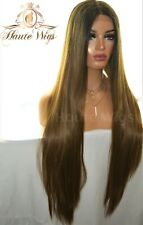 XXX LONG 40 INCHES LACE FRONT WIG OMBRE BLACK ROOTS MEDIUM BROWN HUMAN HAIR FULL