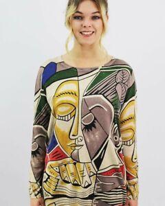 Ladies picasso inspired jumper Print  beige fits UK 10-16