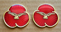 2021 2 X COMMEMORATIVE REMEMBRANCE POPPIES RED ENAMEL PIN BADGE BROOCH RAF
