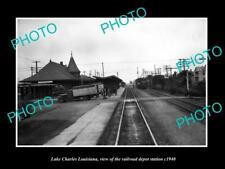 OLD 6 X 4 HISTORIC PHOTO OF LAKE CHARLES LOUISIANA RAILROAD DEPOT STATION c1940