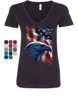 American Bald Eagle Women's V-Neck T-Shirt American Flag 4th of July Patriotic