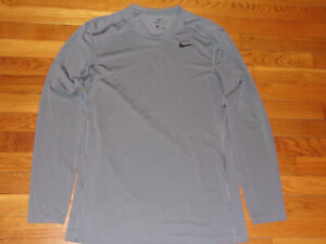 NIKE DRI-FIT LONG SLEEVE GRAY JERSEY MENS MEDIUM EXCELLENT CONDITION