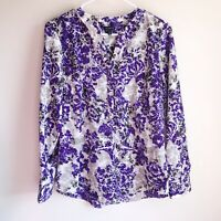 Talbots Purple Gray Floral Popover Business Career Blouse Size Medium