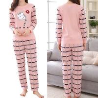 Women Sleepwear Long Sleeve Pajamas Sets Cute Cartoon Print Home Suit Nightwear