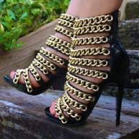 Womens Gladiator Sexy Peep Toe Sandal Metal Chain Stiletto High Heel Boots Party