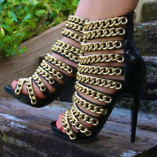 Ladies Sexy Stiletto Gladiator Boot Sandal High Heel Chain Hollow Out Shoes Size