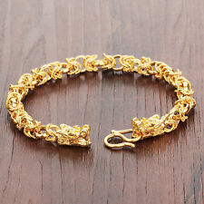 8mm New Gold Plated Double dragon Bracelet Link Chain Wristband For Unisex Women
