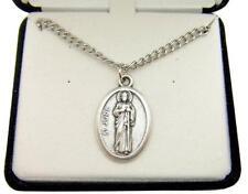 "MRT St Saint Jude Oxidized Silver Tone Medal Gift w Box & Steel Chain 3/4"""