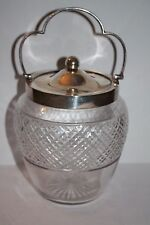 Walker & Hall Cut Glass and Silver Plate Biscuit Jar