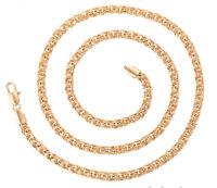 Damen Herren Gold Panzer Kette Halskette 6mm Echt 750er Gold 18K vergoldet 60 cm