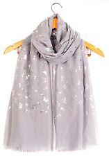 Beautiful Silver Foil Butterfly  Scarf Maxi Wrap Shawl Large Warm & Soft