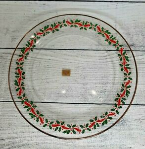 """VTG Arcoroc Christmas Holly Berry DInner Plate 10"""" Red Ribbon Gold Trim Holiday"""