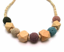 Necklace with Colored Sherical Sponge Rock Stones and Wooden beads