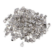 120Pc Mixed European Tibetan Silver Connectors Bail Beads Fit Charm Necklace