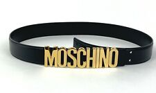Moschino Couture New in Bag Sz 42 M Black Leather Belt Gold Monogram Buckle