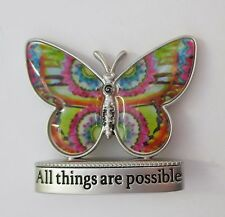 aa All things are possible Butterfly BLESSINGS FIGURINE MINIATURE hippie tye dye
