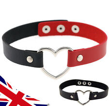 Heart Choker Harley Quinn - Faux Leather - Red & Black Costume - Valentine - UK