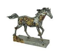 Zeckos Steam Stallion Metallic Silver Running Steampunk Horse Statue