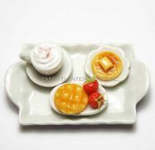 Dollhouse Miniature Food with Coffee Cup on Ceramic Tray * Mini Waffle Pancake