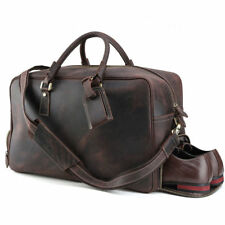 Vintage 20'' Leather Travel Duffel Weekend Shoulder Bag Luggage With Shoe Pouch