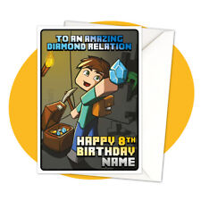 Steve Treasure PERSONALISED BIRTHDAY CARD - minecraft themed gamer personalized