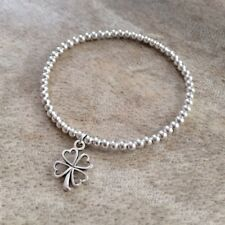 Simple Silver Ball Beads Good Luck Clover Shamrock Charm Surfer Stretch Bracelet