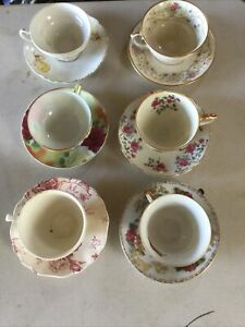 Vintage Cups And Saucers Lot Of Six