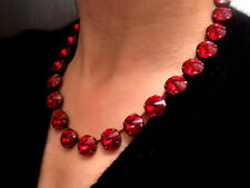 Anna Wintour Ruby Red Swarovski Collet Necklace 14mm Crystal Tennis Cupchain