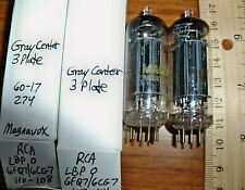 2 Strong Matched RCA Long Black Plate O Getter 6CG7 / 6FQ7 Tubes - 3 Plate