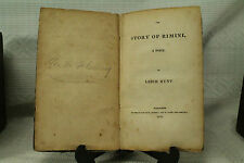Antique 200 year old book THE STORY OF RIMINI  a poem by Leigh Hunt 1816