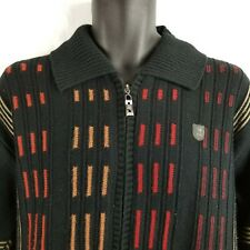 Barclay Quarter Zip Pullover Sweater Jacket Color Block Black Orange Red Size 42