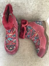 Socofy Women Genuine Leather Boots Casual Comfy Jacquard Lace Up Boots Size 41