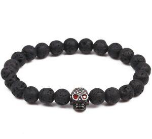 "Skull Oil Diffuse 8mm Lava Rock Stone Bead Yoga Energy Gemstone Bracelet 7.5"""