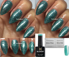 BLUESKY GEL POLISH AQUA GREEN GLITTER PLATINUM 12 NAIL UV LED SOAK OFF,ANY2=FILE