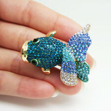 Charming Blue Fish Rhinestone Crystal Brooch Pin Animal Gold-Tone