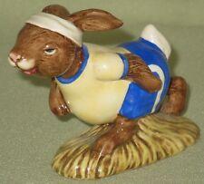 "Royal Doulton Figurine Jogging Bunnykins Db22 1982 Yellow Blue & White 2 1/2""H"