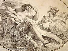 Gravure XVIII KARL AGRICOLA JUPITER MINERVE MYTHOLOGIE FÜGER 1797 DIRECTOIRE