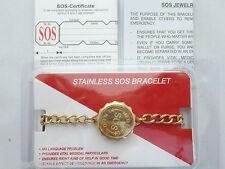 9ct Gold Plated Stainless Steel SOS Bracelet Ladies/mens Medical Alert Talisman