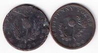NOVA SCOTIA 1823 & 1832 HALFPENNY GEORGE IV COPPER THISTLE  SEMI-REGAL TOKENS