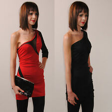 Sexy Minikleid Party Kleid Rot Schwarz Tüll Transparent One Shoulder 36 38 40