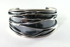 "925 sterling silver 1 1/2"" wide crushed cuff bracelet"