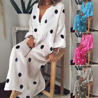 ZANZEA Women's Oversize Long Maxi Dress Polka Dot Full Length Shirt Dress Kaftan