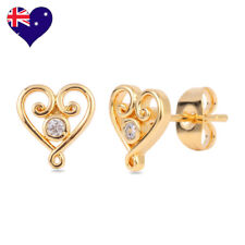 Venezian Heart Yellow Gold Plated Round Cubic Zirconia Stud Earrings-Bridal Gift