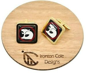 Holden HSV Cufflinks, Square Gold, Black, white and red design