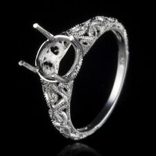Silver Plated Empty Ring Romantic Vintage 7.5-9mm Round Engagement Ring Sterling