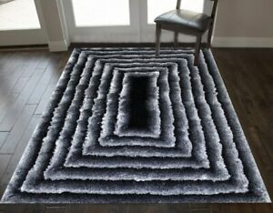 Soft Shag Hand Knotted 3D 8x10 Feet Area Rug Carpet Black White Mix New