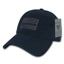 Thin Blue Line Blue US American Flag Patch Relaxed Graphic Baseball Hat Cap
