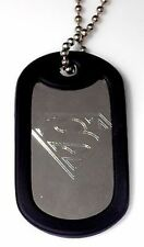 """Superman Hero & 4"""" Keychain Dog Tag Stainless Steel Chain Rubber Edge EDG-0059"""