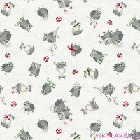 "FQ Debbie Mumm Winter Gnomes Gray Animal Toss Cotton Fabric 18""Lx21""W-BTFQ"